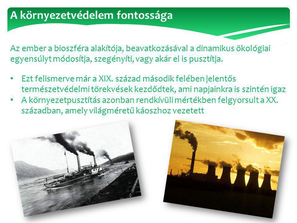 A környezetvédelem fontossága Az ember a bioszféra alakítója, beavatkozásával a dinamikus ökológiai egyensúlyt módosítja, szegényíti, vagy akár el is
