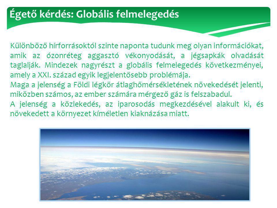 Égető kérdés: Globális felmelegedés Különböző hírforrásoktól szinte naponta tudunk meg olyan információkat, amik az ózonréteg aggasztó vékonyodását, a