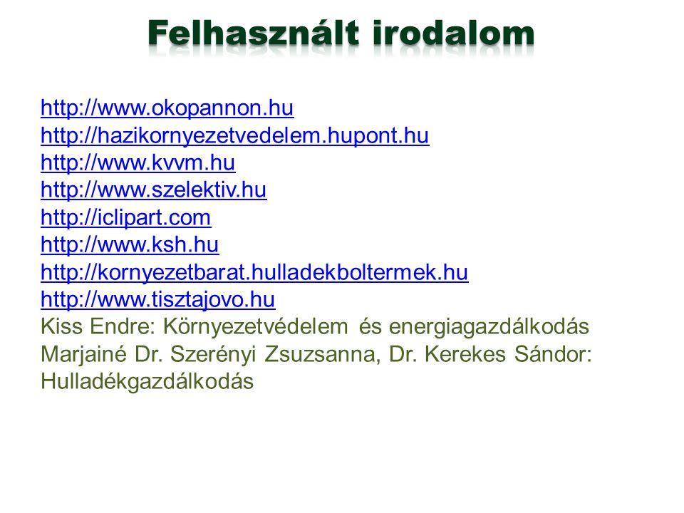 http://www.okopannon.hu http://hazikornyezetvedelem.hupont.hu http://www.kvvm.hu http://www.szelektiv.hu http://iclipart.com http://www.ksh.hu http://
