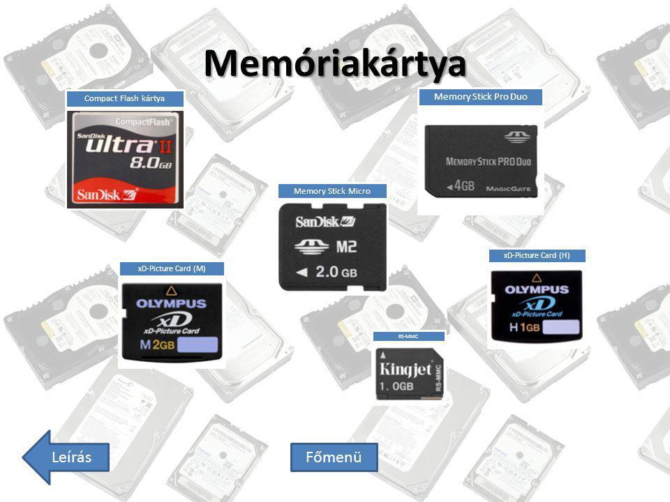 Memóriakártya Leírás Főmenü Compact Flash kártya Memory Stick Micro Memory Stick Pro Duo xD-Picture Card (M) xD-Picture Card (H) RS-MMC