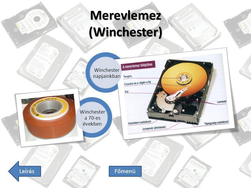 Hajlékonylemez (Floppy) 8 hajlékonylemez: - tárolókapacitás: típustól függően 160-500KiB volt 5 1/4 hajlékonylemez: - méret: 133x133 mm - tárolókapacitás: 360KiB és 1,2 MiB 3 1/2 hajlékonylemez: - tárolókapacitás: 720KiB, 1,44MiB, 2,88MiB Főmenü Képek