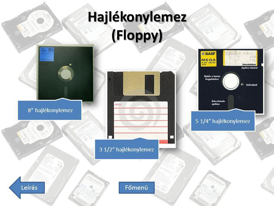 "Hajlékonylemez (Floppy) 8"" hajlékonylemez 5 1/4"" hajlékonylemez Leírás Főmenü 3 1/2"" hajlékonylemez"