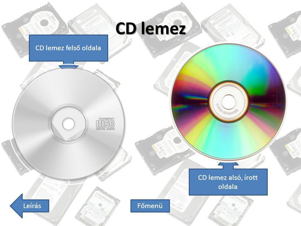 CD lemez Leírás Főmenü CD lemez felső oldala CD lemez alsó, írott oldala