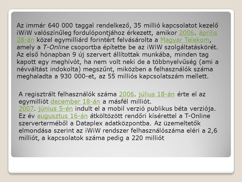 Az immár 640 000 taggal rendelkező, 35 millió kapcsolatot kezelő iWiW valószínűleg fordulópontjához érkezett, amikor 2006.