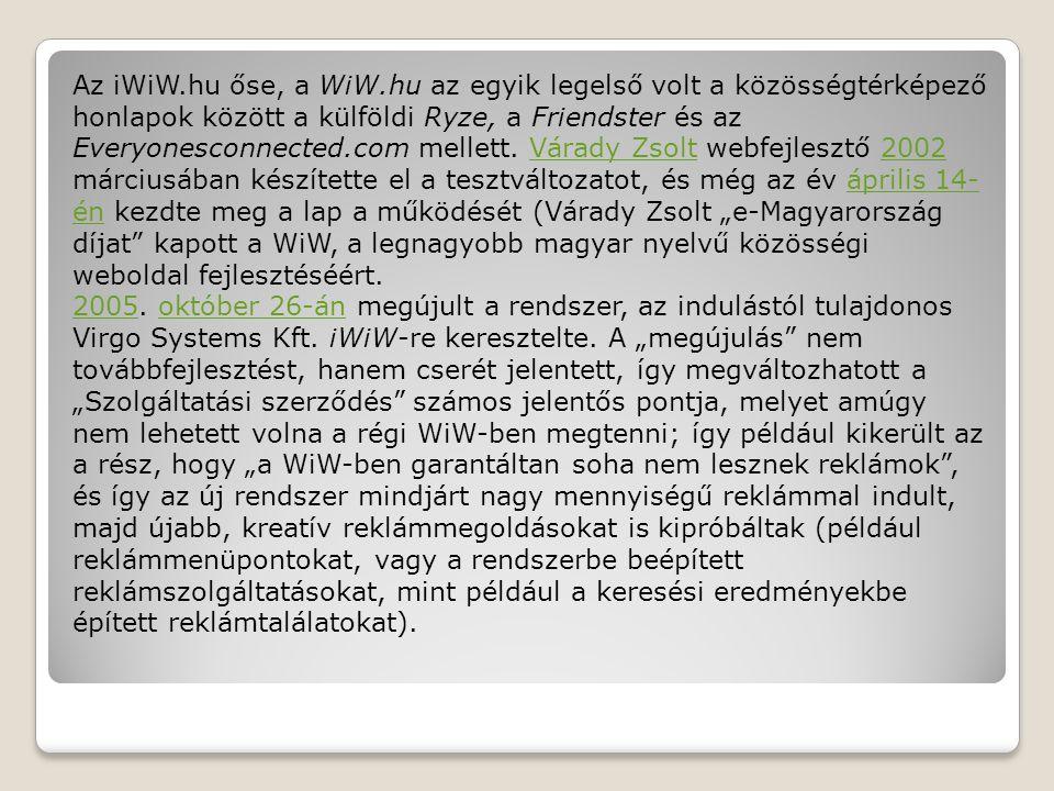 Az iWiW.hu őse, a WiW.hu az egyik legelső volt a közösségtérképező honlapok között a külföldi Ryze, a Friendster és az Everyonesconnected.com mellett.