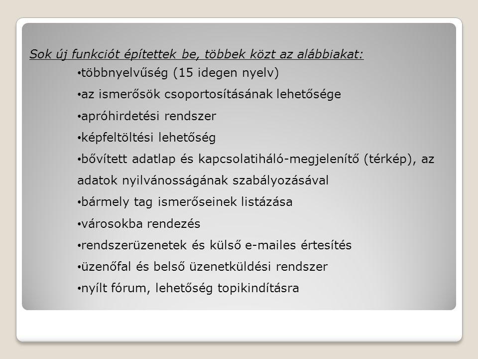 Sok új funkciót építettek be, többek közt az alábbiakat: többnyelvűség (15 idegen nyelv) az ismerősök csoportosításának lehetősége apróhirdetési rendszer képfeltöltési lehetőség bővített adatlap és kapcsolatiháló-megjelenítő (térkép), az adatok nyilvánosságának szabályozásával bármely tag ismerőseinek listázása városokba rendezés rendszerüzenetek és külső e-mailes értesítés üzenőfal és belső üzenetküldési rendszer nyílt fórum, lehetőség topikindításra