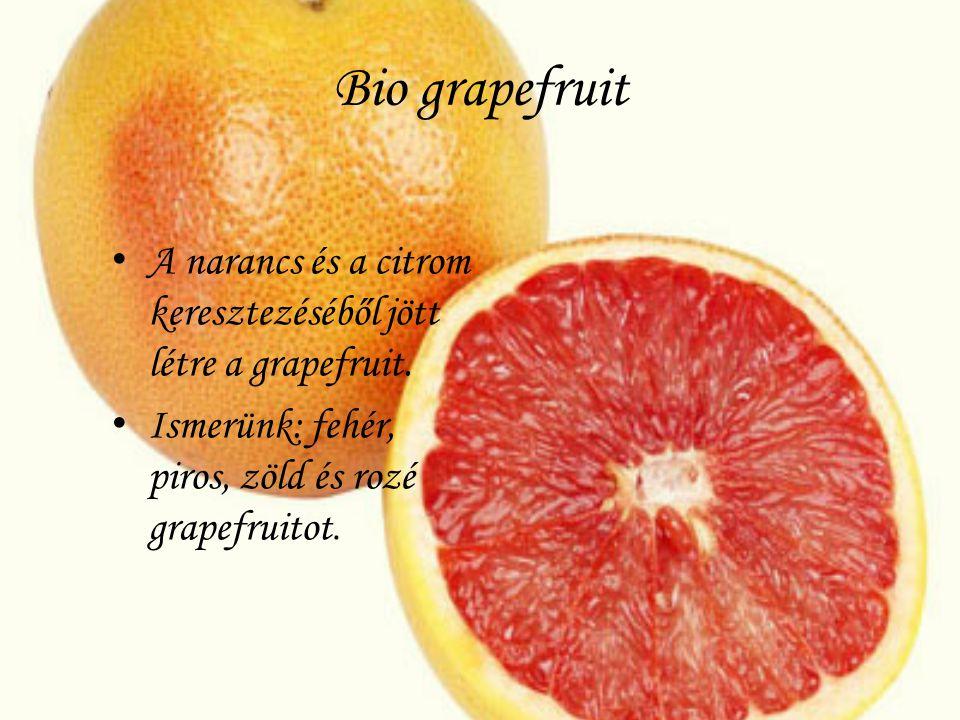 Bio grapefruit A narancs és a citrom keresztezéséből jött létre a grapefruit. Ismerünk: fehér, piros, zöld és rozé grapefruitot.