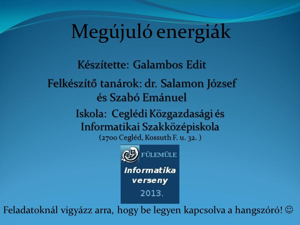 Szélenergia A szélenergia megújuló energiafajta, amelynek termelése környezetvédelmi és költségelőnyei miatt rohamos ütemben nő a világban.