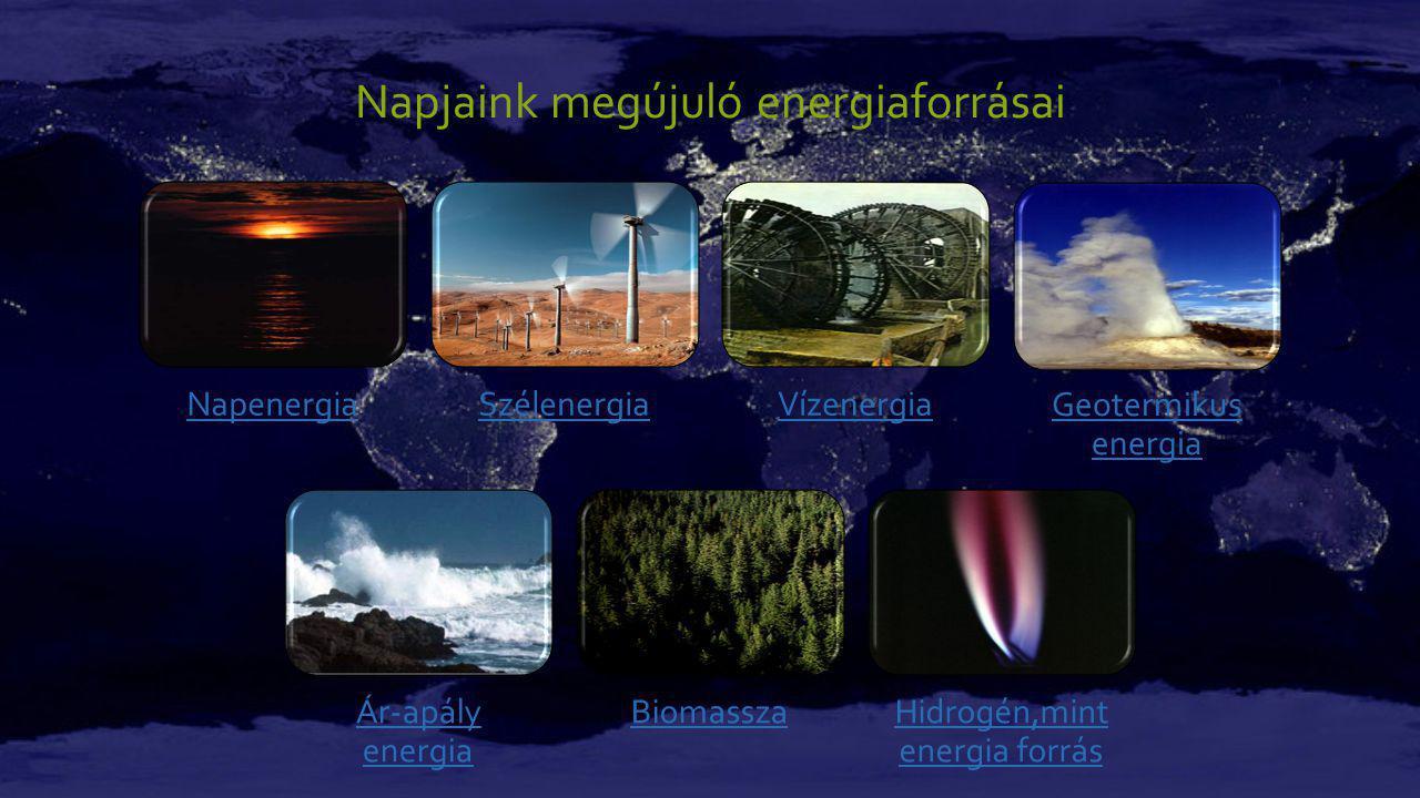 Napjaink megújuló energiaforrásai NapenergiaSzélenergiaVízenergia Geotermikus energia Ár-apály energia BiomasszaHidrogén,mint energia forrás