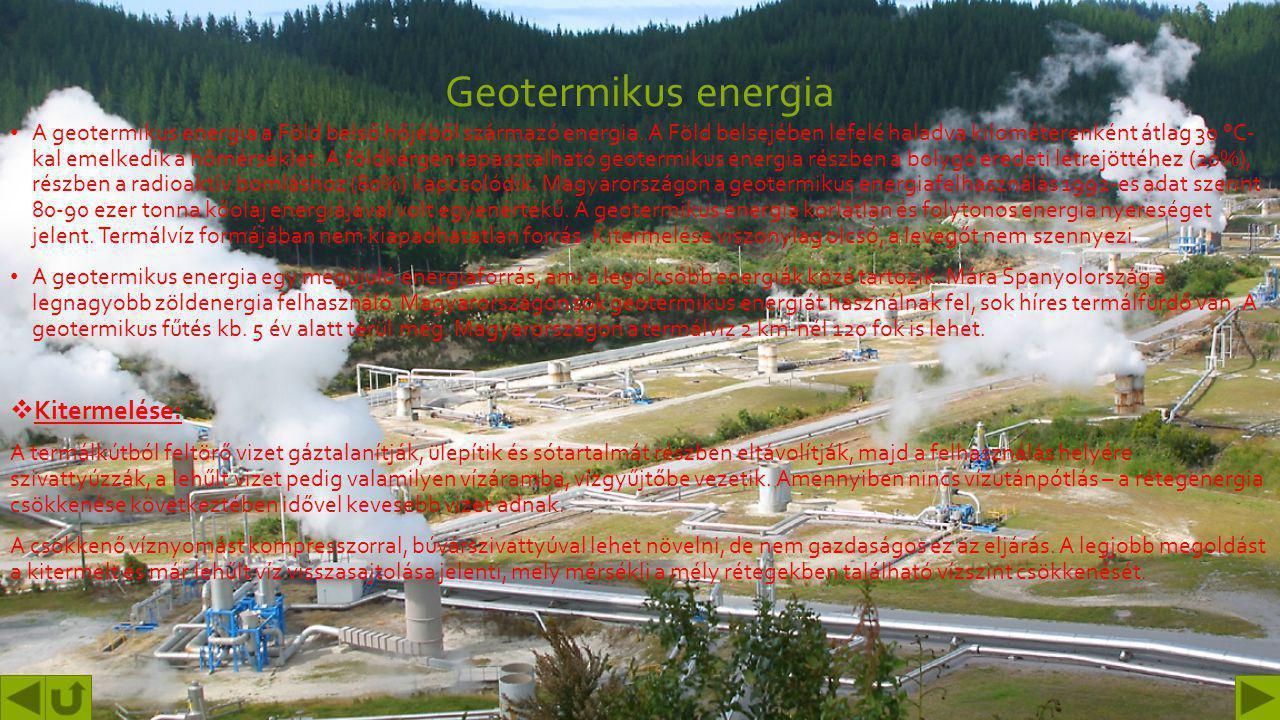 Vízenergia Előnyei: Rugalmasság Alacsony költségek Csökkentett CO2-kibocsátás Hátrányai: Az esetleges ökoszisztéma károsodás Esetleges eliszaposodás N