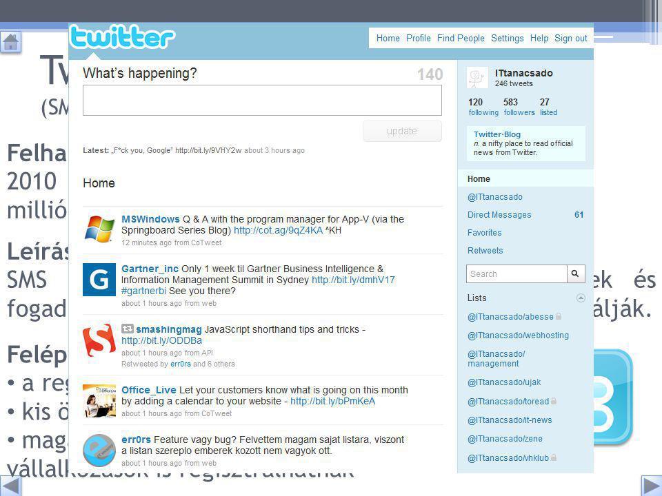 Twitter (SMS az interneten) Leírása: SMS hosszúságú és formájú szövegeket küldhetnek és fogadhatnak a felhasználók.