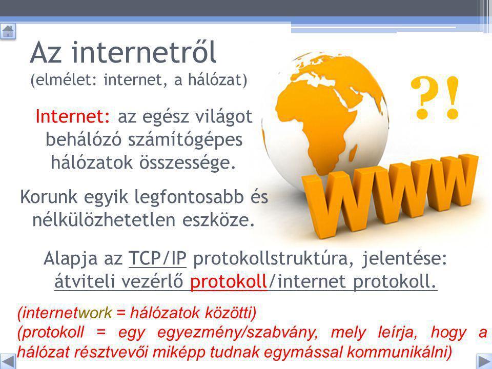 Az internetről (elmélet: internet, a hálózat) (internetwork = hálózatok közötti) Internet: az egész világot behálózó számítógépes hálózatok összessége.