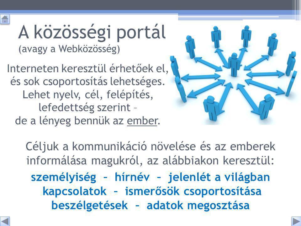 A közösségi portál (avagy a Webközösség) Interneten keresztül érhetőek el, és sok csoportosítás lehetséges.