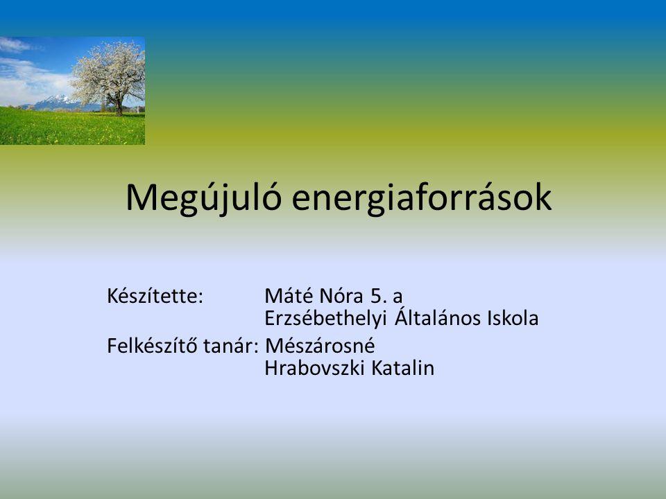 Megújuló energiaforrások Készítette:Máté Nóra 5.