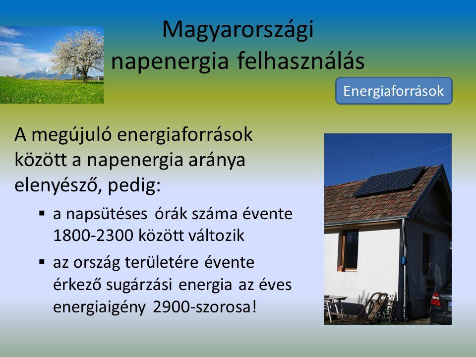 Napenergia A Nap energiája hő és fény formájában éri el a Földet.