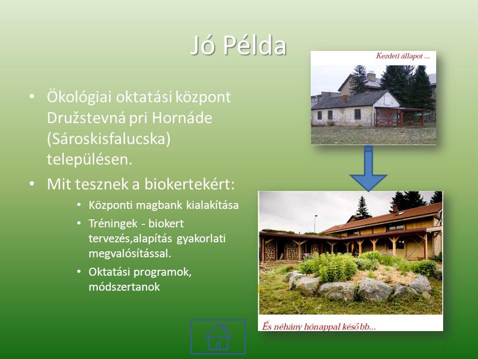 Jó Példa Ökológiai oktatási központ Družstevná pri Hornáde (Sároskisfalucska) településen.