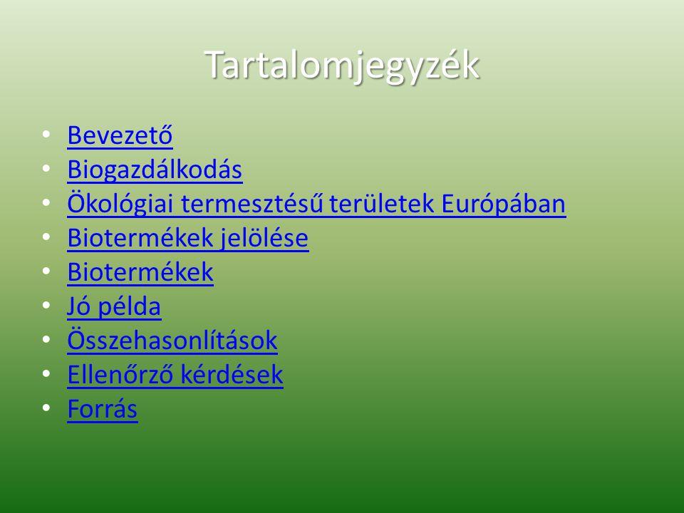 Tartalomjegyzék Bevezető Biogazdálkodás Ökológiai termesztésű területek Európában Biotermékek jelölése Biotermékek Jó példa Összehasonlítások Ellenőrző kérdések Forrás