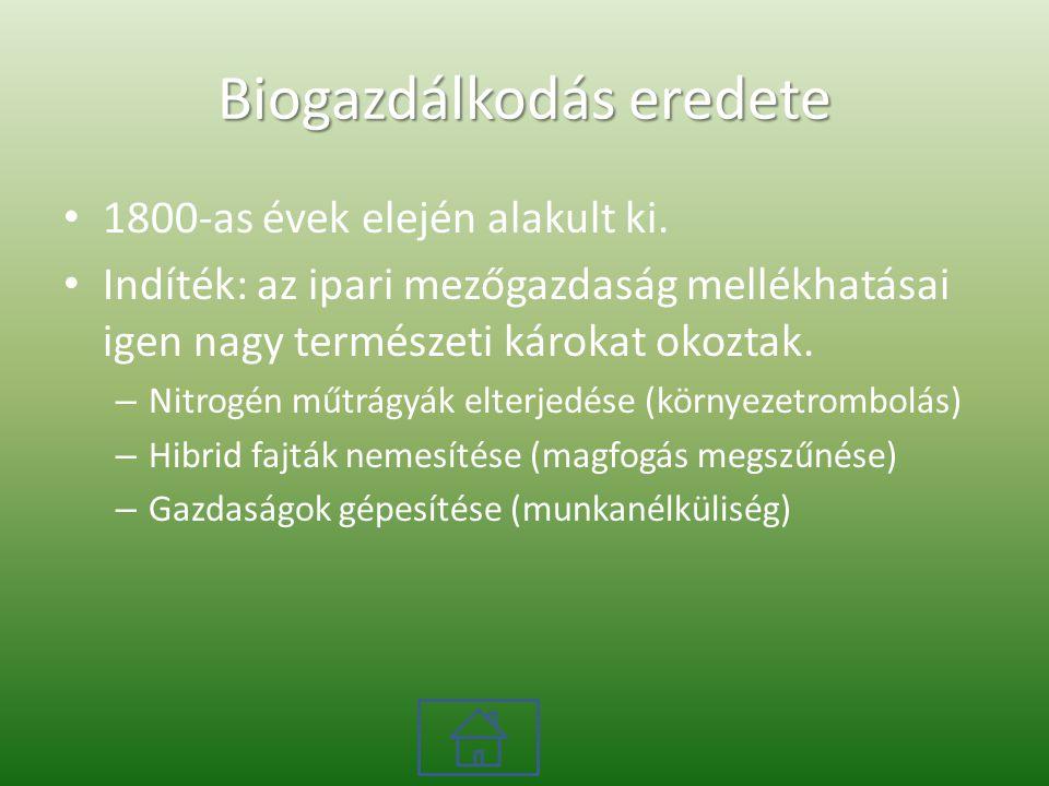 Biogazdálkodás eredete 1800-as évek elején alakult ki.