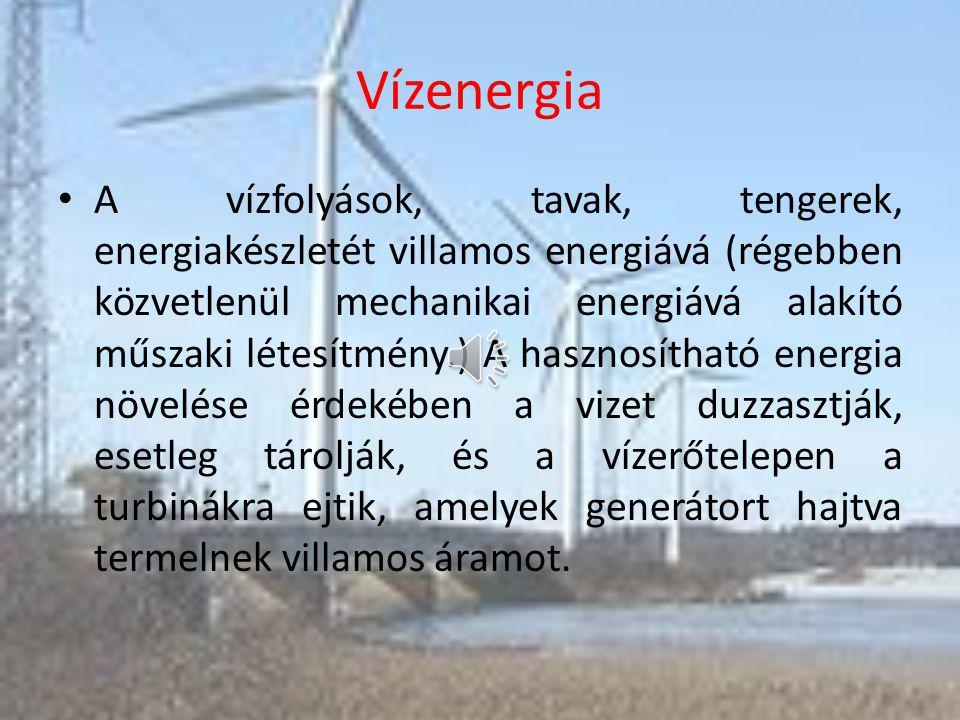 A szélenergia Generátor: a forgás energiájából villamos energiát termel. A szélerőműveknek a kerekét a szél fúvása (energiája) hajtja meg. Ez egy gene
