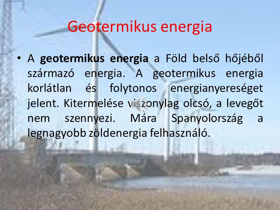 Vízenergia A vízfolyások, tavak, tengerek, energiakészletét villamos energiává (régebben közvetlenül mechanikai energiává alakító műszaki létesítmény.