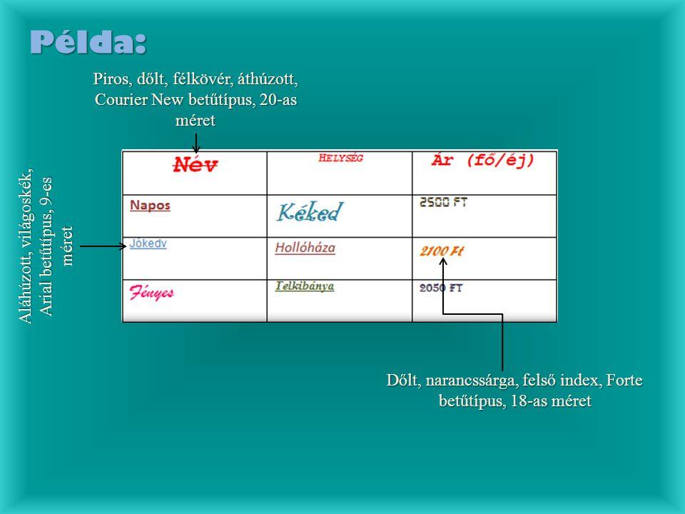 Példa: Piros, dőlt, félkövér, áthúzott, Courier New betűtípus, 20-as méret A l á h ú z o t t, v i l á g o s k é k, A r i a l b e t ű t í p u s, 9 - e