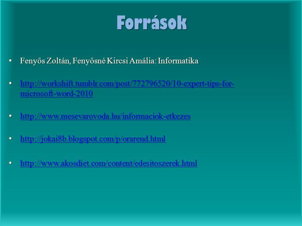 Források Fenyős Zoltán, Fenyősné Kircsi Amália: Informatika Fenyős Zoltán, Fenyősné Kircsi Amália: Informatika http://workshift.tumblr.com/post/772796