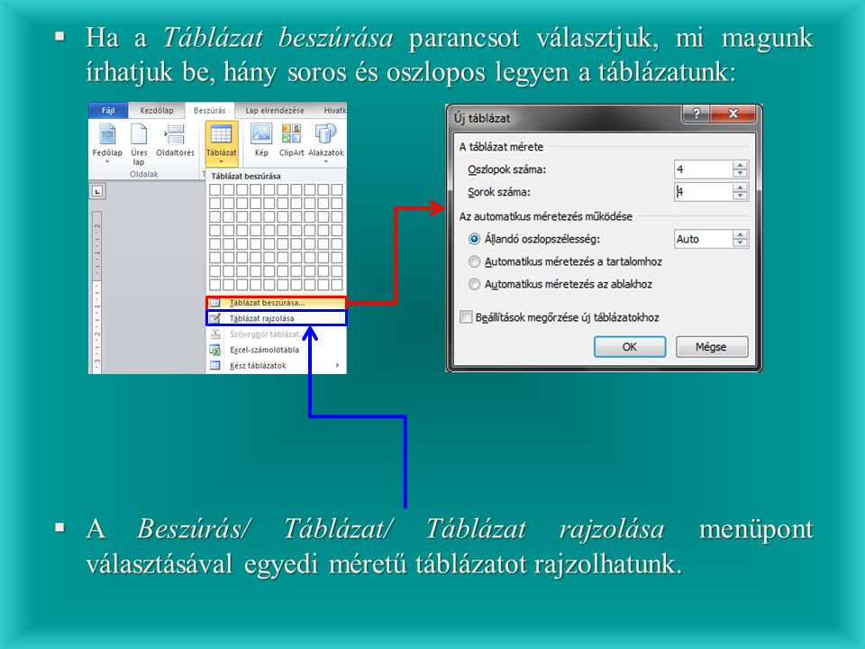  Ha a Táblázat beszúrása parancsot választjuk, mi magunk írhatjuk be, hány soros és oszlopos legyen a táblázatunk:  A Beszúrás/ Táblázat/ Táblázat r