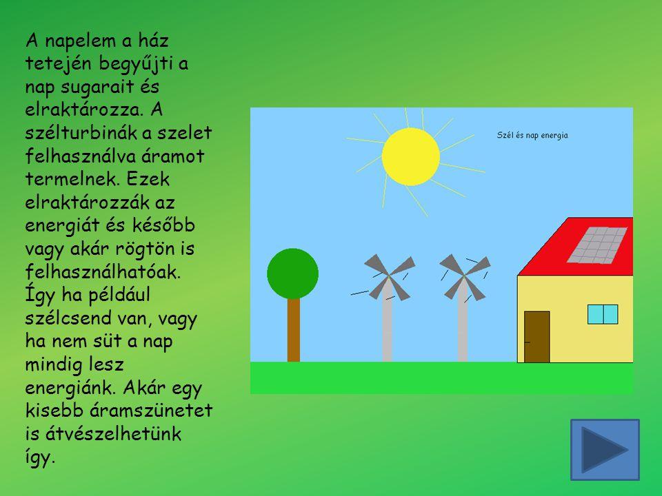A napelem a ház tetején begyűjti a nap sugarait és elraktározza. A szélturbinák a szelet felhasználva áramot termelnek. Ezek elraktározzák az energiát
