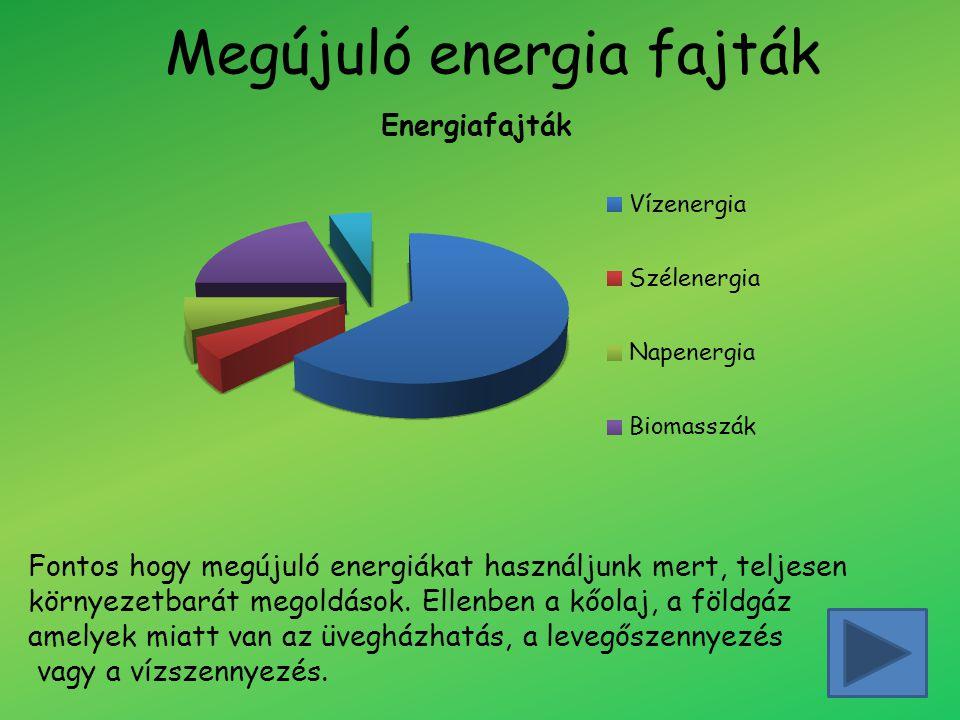 Megújuló energia fajták Fontos hogy megújuló energiákat használjunk mert, teljesen környezetbarát megoldások. Ellenben a kőolaj, a földgáz amelyek mia