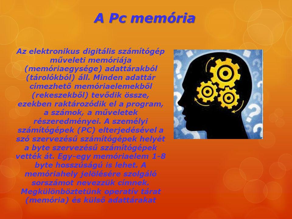 A Pc memória Az elektronikus digitális számítógép műveleti memóriája (memóriaegysége) adattárakból (tárolókból) áll. Minden adattár címezhető memóriae
