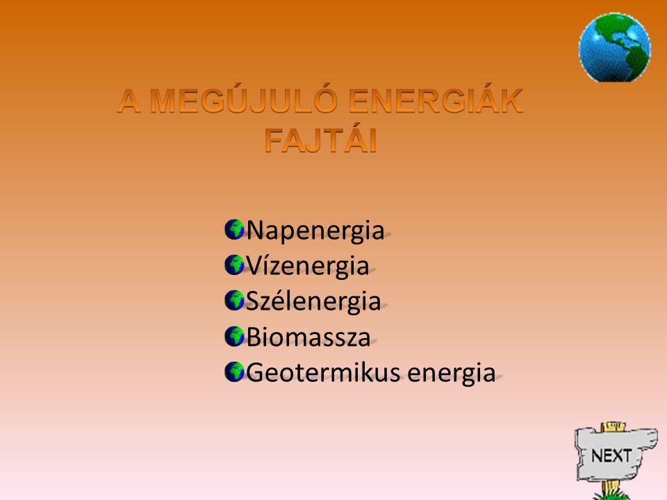 NapenergiaVízenergiaSzélenergiaBiomassza Geotermikus energia