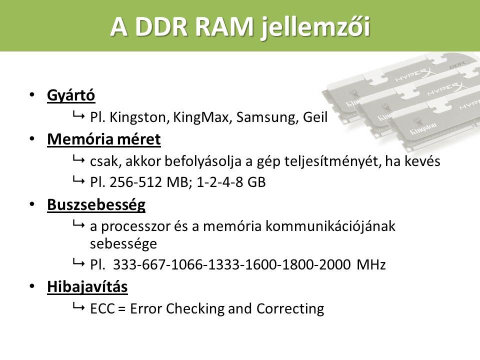 A RAM speciális fajtája – a cache Cache = GYORSÍTÓTÁR Alapja az SRAM (statikus RAM) Feladata: a gyors processzor és lassabb eszközök (háttértár, memória) közti sebességkülönbségek kompenzálása A cache működési elve: Ha egy adatra szüksége van a számítógépnek, akkor 1.valószínűleg ismételten használni akarja majd, 2.vélhetően a környezetében lévő adatokat is használná.