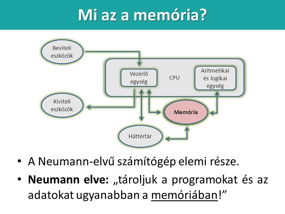 Mi az a memória.A Neumann-elvű számítógép elemi része.