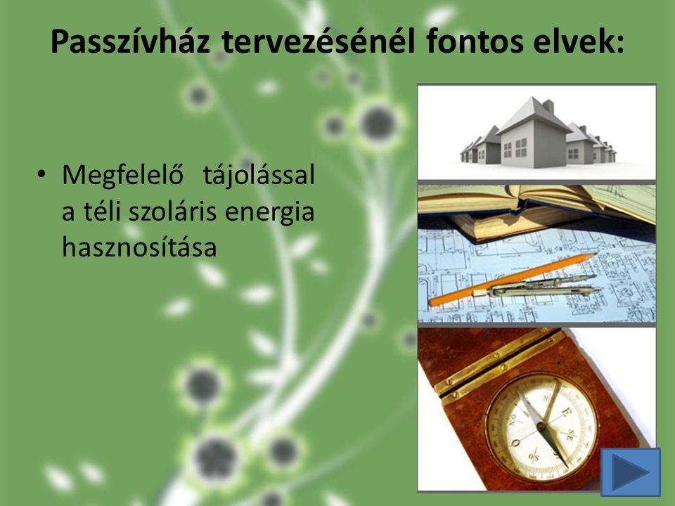 Passzívház tervezésénél fontos elvek: Megfelelő tájolással a téli szoláris energia hasznosítása