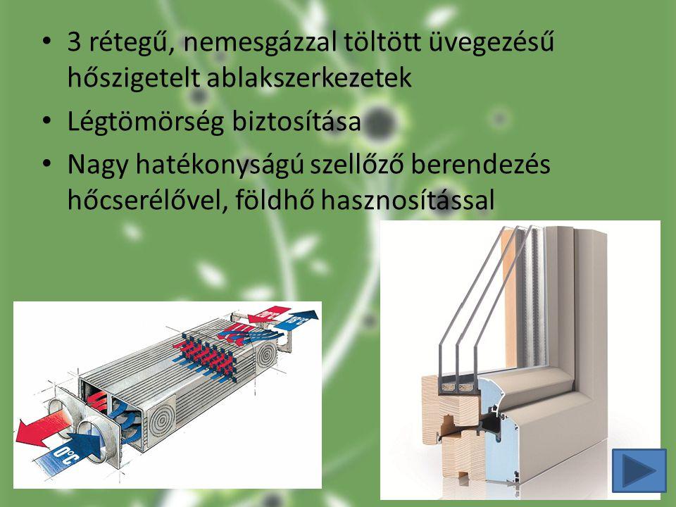 3 rétegű, nemesgázzal töltött üvegezésű hőszigetelt ablakszerkezetek Légtömörség biztosítása Nagy hatékonyságú szellőző berendezés hőcserélővel, földh