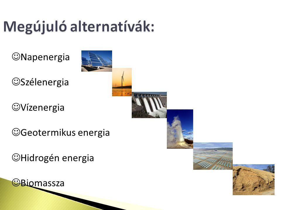Megújuló alternatívák: Napenergia Szélenergia Vízenergia Geotermikus energia Hidrogén energia Biomassza