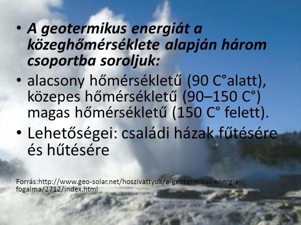 A geotermikus energiát a közeghőmérséklete alapján három csoportba soroljuk: alacsony hőmérsékletű (90 C°alatt), közepes hőmérsékletű (90–150 C°) maga