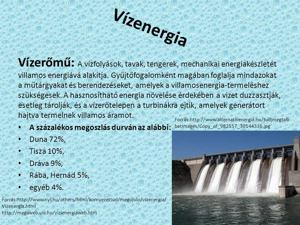 Vízenergia Vízerőmű: A vízfolyások, tavak, tengerek, mechanikai energiakészletét villamos energiává alakítja. Gyűjtőfogalomként magában foglalja minda