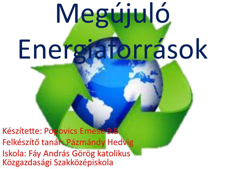 Megújuló Energiaforrások Készítette: Popovics Emese 9.B Felkészítő tanár: Pázmándy Hedvig Iskola: Fáy András Görög katolikus Közgazdasági Szakközépisk