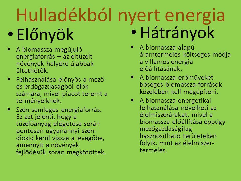 Hulladékból nyert energia Előnyök  A biomassza megújuló energiaforrás – az eltüzelt növények helyére újabbak ültethetők.  Felhasználása előnyös a me