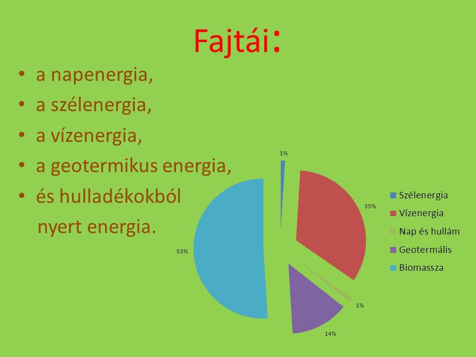 Fajtái : a napenergia, a szélenergia, a vízenergia, a geotermikus energia, és hulladékokból nyert energia.