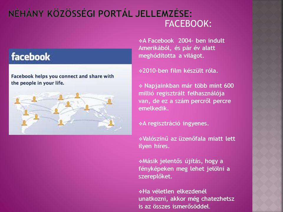 FACEBOOK:  A Facebook 2004- ben indult Amerikából, és pár év alatt meghódította a világot.  2010-ben film készült róla.  Napjainkban már több mint