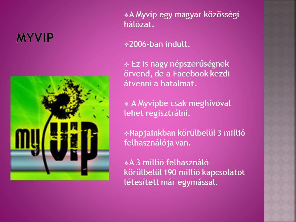 A Myvip egy magyar közösségi hálózat.  2006-ban indult.  Ez is nagy népszerűségnek örvend, de a Facebook kezdi átvenni a hatalmat.  A Myvipbe csa