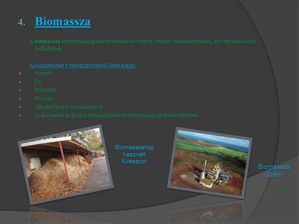 4. Biomassza A biomassza energetikailag hasznosítható növények, termés, melléktermékek, növények és állati hulladékok. A biomassza energetikailag hasz