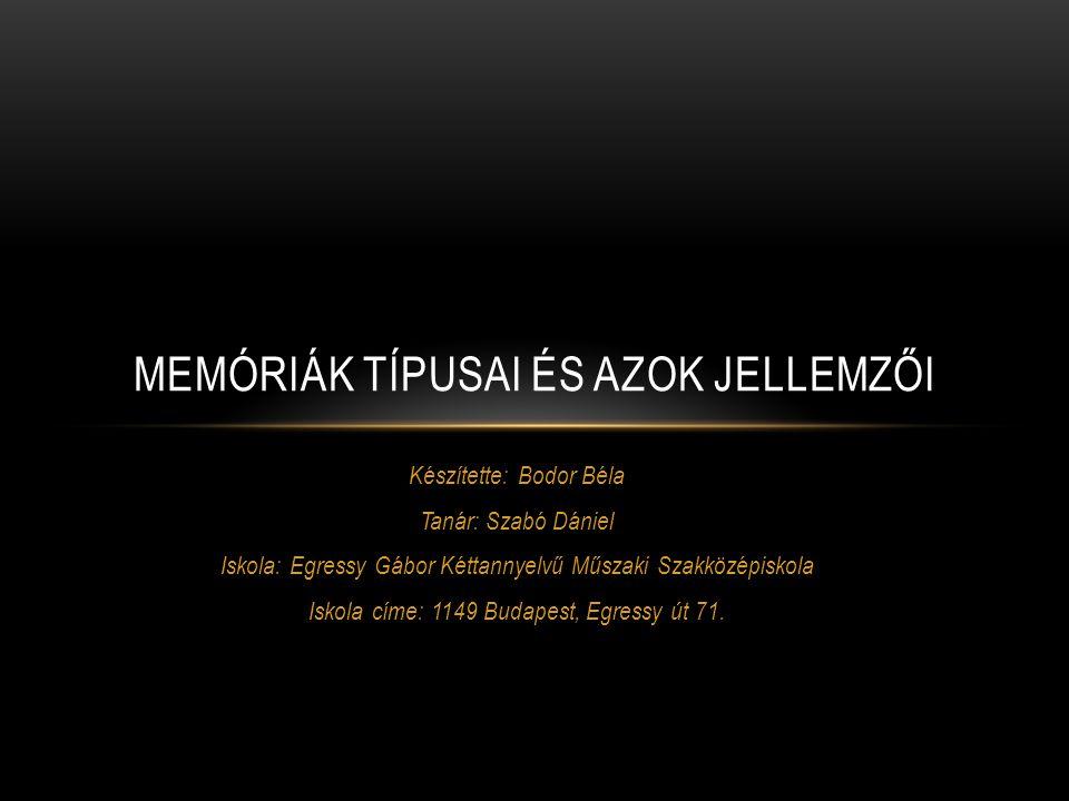 Készítette: Bodor Béla Tanár: Szabó Dániel Iskola: Egressy Gábor Kéttannyelvű Műszaki Szakközépiskola Iskola címe: 1149 Budapest, Egressy út 71. MEMÓR