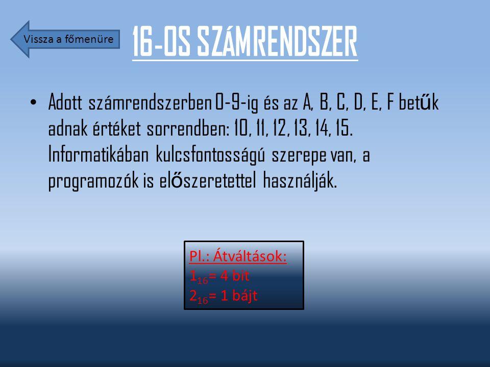 16-OS SZÁMRENDSZER Adott számrendszerben 0-9-ig és az A, B, C, D, E, F bet ű k adnak értéket sorrendben: 10, 11, 12, 13, 14, 15. Informatikában kulcsf