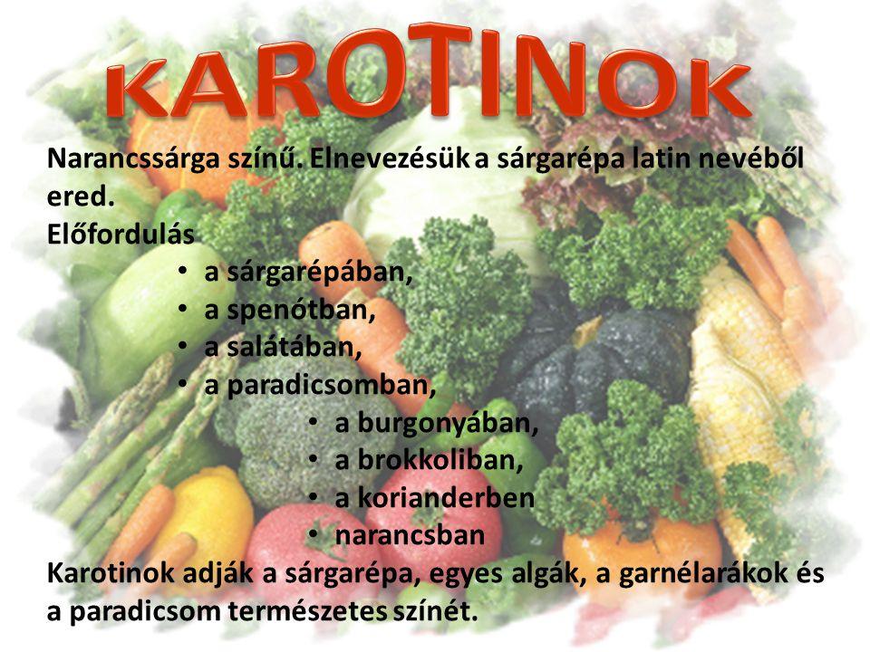 Narancssárga színű. Elnevezésük a sárgarépa latin nevéből ered. Előfordulás a sárgarépában, a spenótban, a salátában, a paradicsomban, a burgonyában,
