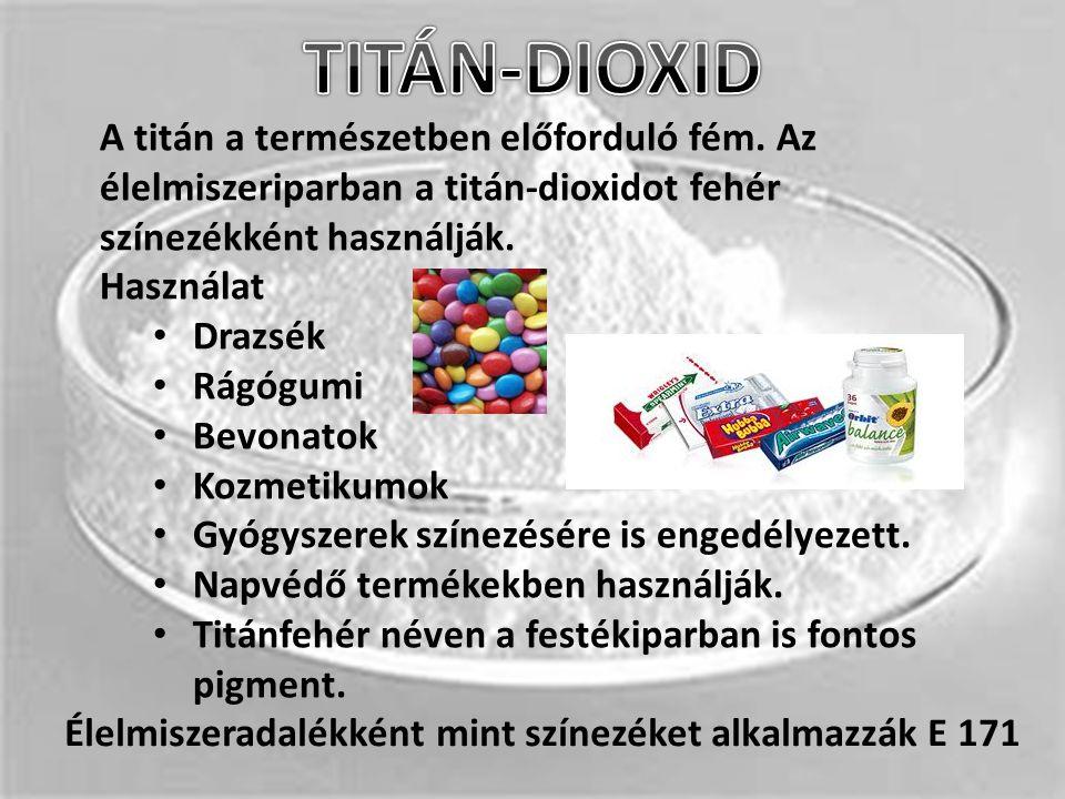 A titán a természetben előforduló fém. Az élelmiszeriparban a titán-dioxidot fehér színezékként használják. Használat Drazsék Rágógumi Bevonatok Kozme