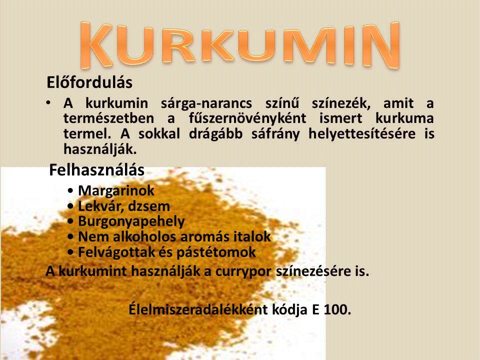 Előfordulás A kurkumin sárga-narancs színű színezék, amit a természetben a fűszernövényként ismert kurkuma termel. A sokkal drágább sáfrány helyettesí