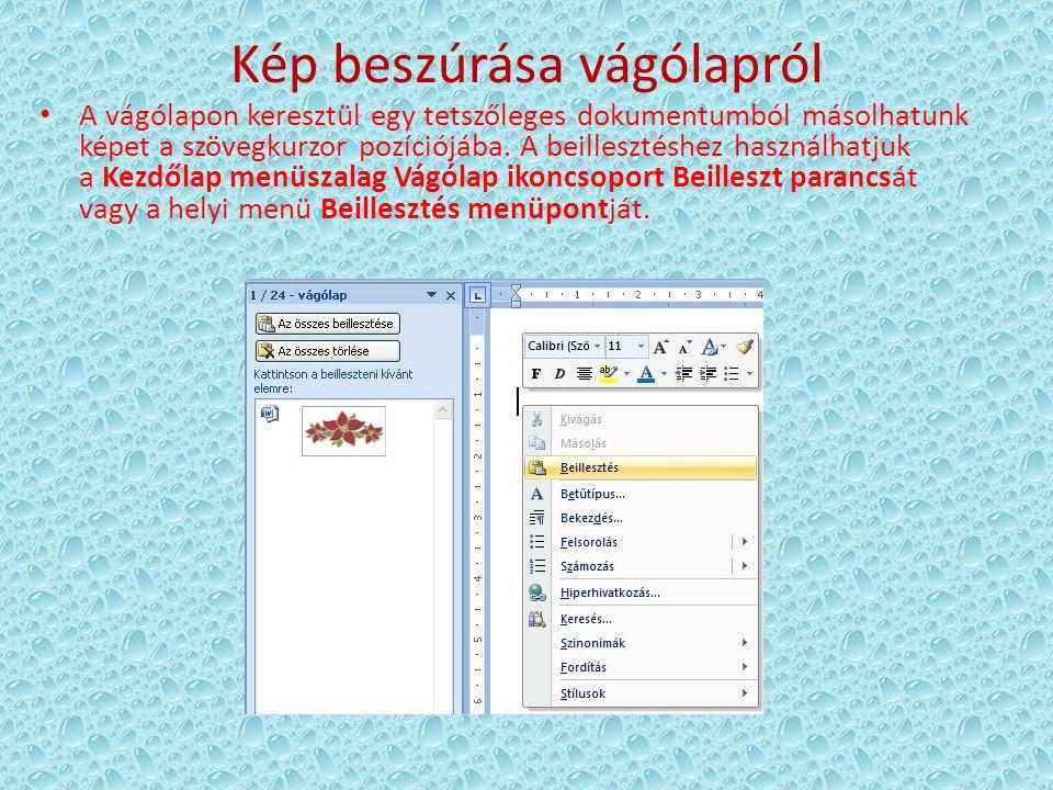 Kép csatolása A csatolás során Word nem másolja be a képet a dokumentumba, hanem csak hivatkozunk rá (link).